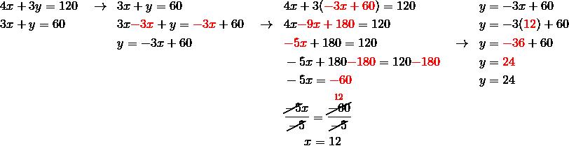 & 4x+3y=120 \quad \rightarrow && 3x+y=60 && 4x+3({\color{red}-3x+60})=120 && y=-3x+60\\& 3x+y=60 && 3x{\color{red}-3x}+y={\color{red}-3x}+60 \quad \rightarrow && 4x{\color{red}-9x+180}=120 && y =-3({\color{red}12})+60\\& && y=-3x+60 && {\color{red}-5x}+180=120 \qquad \qquad \qquad \rightarrow &&  y={\color{red}-36}+60\\& && && -5x+180{\color{red}-180}=120{\color{red}-180} && y ={\color{red}24}\\& && && -5x={\color{red}-60} && y=24\\& && && \frac{\cancel{-5}x}{\cancel{-5}}=\frac{\overset{{\color{red}12}}{\cancel{-60}}}{\cancel{-5}}\\& && && \quad \ \ x=12