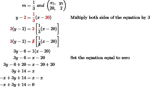 m & = \frac{1}{3} \ and \ \begin{pmatrix}x_1, & y_1\\20, & 2 \end{pmatrix}\\y- {\color{red}2} & = {\color{red}\frac{1}{3}} (x - {\color{red}20}) && \text{Multiply both sides of the equation by } 3\\{\color{red}3} (y-2) & = {\color{red}3} \left [ \frac{1}{3} (x-20) \right ]\\{\color{red}3} (y-2) & = {\color{red}\cancel{3}} \left [ \frac{1}{\cancel{3}} (x-20) \right ]\\3y - 6 & = 1(x-20)\\3y - 6 & = x - 20 && \text{Set the equation equal to zero}\\3y - 6 + 20 & = x - 20 + 20\\3y + 14 & = x\\-x + 3y + 14 & = x - x\\-x + 3y + 14 & = 0