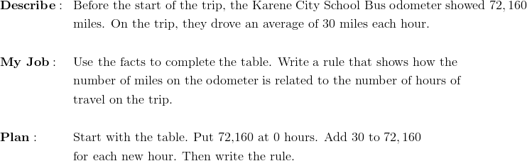 & \mathbf{Describe:} && \text{Before the start of the trip, the Karene City School Bus odometer showed} \ 72,160\\&&& \text{miles. On the trip, they drove an average of} \ 30 \ \text{miles each hour.}\\\\& \mathbf{My \ Job:} && \text{Use the facts to complete the table. Write a rule that shows how the}\\&&& \text{number of miles on the odometer is related to the number of hours of}\\&&& \text{travel on the trip.}\\\\& \mathbf{Plan:} && \text{Start with the table. Put 72,160 at 0 hours. Add} \ 30 \ \text{to} \ 72,160 \\&&&  \text{for each new hour. Then write the rule.}
