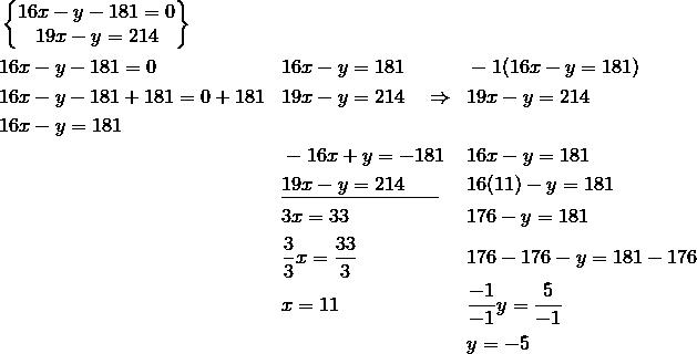 & \begin{Bmatrix}16x-y-181=0\\19x-y=214\end{Bmatrix}\\& 16x-y-181= 0 && 16x-y=181 && -1(16x-y=181)\\& 16x-y-181+181=0+181 && 19x-y=214 \quad \Rightarrow && 19x-y=214\\& 16x-y=181\\& && -16x+y=-181 && 16x-y=181\\& && \underline{19x-y=214\;\;\;\;\;\;} && 16(11)-y=181\\& && 3x = 33 && 176-y=181\\& && \frac{3}{3}x=\frac{33}{3} && 176-176-y=181-176\\& && x=11 && \frac{-1}{-1}y=\frac{5}{-1}\\& && && y=-5