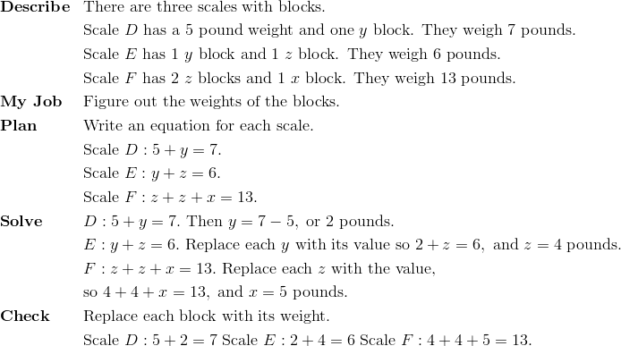 & \mathbf{Describe} && \text{There are three scales with blocks. }\!\\&&& \text{Scale} \ D \ \text{has a} \ 5 \ \text{pound weight and one} \ y \ \text{block. They weigh} \ 7 \ \text{pounds.}\!\\&&& \text{Scale} \ E \ \text{has 1} \ y \ \text{block and} \ 1 \ z \ \text{block. They weigh} \ 6 \ \text{pounds.}\!\\&&& \text{Scale} \ F \ \text{has 2} \ z \ \text{blocks and 1} \ x \ \text{block. They weigh} \ 13 \ \text{pounds.}\!\\& \mathbf{My \ Job} && \text{Figure out the weights of the blocks.}\!\\& \mathbf{Plan} && \text{Write an equation for each scale.}\!\\&&& \text{Scale} \ D: 5+y=7.\!\\  &&& \text{Scale} \ E: y+z=6.\!\\&&& \text{Scale} \ F: z+z+x=13.\!\\& \mathbf{Solve} && D: 5+y=7. \ \text{Then} \ y = 7 - 5, \ \text{or} \ 2 \ \text{pounds.}\!\\ &&& E: y + z= 6. \ \text{Replace each} \ y \ \text{with its value so} \ 2 + z = 6, \ \text{and} \ z = 4 \ \text{pounds.}\!\\ &&& F: z+z+x=13. \ \text{Replace each} \ z \ \text{with the value,}\!\\&&& \text{so} \ 4+ 4 + x = 13, \ \text{and} \ x = 5 \ \text{pounds.}\!\\& \mathbf{Check} && \text{Replace each block with its weight.}\!\\ &&& \text{Scale} \ D: 5+2=7 \ \text{Scale} \ E: 2+4=6 \ \text{Scale} \ F: 4+4+5=13.