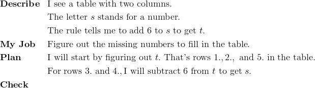 & \mathbf{Describe} && \text{I see a table with two columns}.\\ &&& \text{The letter} \ s \ \text{stands for a number}.\\ &&& \text{The rule tells me to add} \ 6 \ \text{to} \ s \ \text{to get} \ t.\\& \mathbf{My \ Job} && \text{Figure out the missing numbers to fill in the table}.\\& \mathbf{Plan} && \text{I will start by figuring out} \ t. \ \text{That's rows} \ 1., 2., \ \text{and} \ 5. \ \text{in the table}.\\&&& \text{For rows} \ 3. \ \text{and} \ 4., \text{I will subtract} \ 6 \ \text{from} \ t \ \text{to get} \ s.\\& \mathbf{Check}