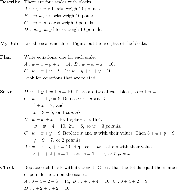 & \mathbf{Describe}&& \text{There are four scales with blocks}.\\&&& A: \ w, x, y, z  \ \text{blocks weigh} \ 14 \ \text{pounds}.\\&&& B: \ w, w, x \ \text{blocks weigh} \ 10 \ \text{pounds}.\\&&& C: \ w, x, y \ \text{blocks weigh} \ 9 \ \text{pounds}.\\&&& D: \ w, y, w, y \ \text{blocks weigh} \ 10 \ \text{pounds}.\\\\&\mathbf{My \ Job}&& \text{Use the scales as clues. Figure out the weights of the blocks}.\\\\&\mathbf{Plan} && \text{Write equations, one for each scale}.\\&&& A: w+x+y+z=14; \ B: w+w+x=10;\\&&& C: w+x+y=9; \ D: w+y+w+y=10.\\&&& \text{Look for equations that are related}.\\\\&\mathbf{Solve}&& D: w+y+w+y=10. \ \text{There are two of each block, so} \ w+y=5\\&&& C: w+x+y=9. \ \text{Replace} \ w+y \ \text{with}\ 5.\\&&& \qquad 5+x=9, \ \text{and}\\&&& \qquad x =9-5, \  \text{or} \ 4 \ pounds.\\&&& B: w+w+x=10. \ \text{Replace} \ x \ \text{with} \ 4.\\&&& \qquad w+w+4=10, \ 2w=6, \ \text{so} \ w=3 \ pounds.\\&&& C: w+x+y=9. \ \text{Replace} \ x \ \text{and} \ w \ \text{with their values}. \ \text{Then} \ 3+4+y=9.\\&&& \qquad y=9-7, \ \text{or} \ 2 \ pounds.\\&&& A: w+x+y+z=14. \ \text{Replace known letters with their values} \\&&& \qquad 3+4+2+z=14, \ \text{and} \ z=14-9, \ \text{or} \ 5 \ pounds.\\\\&\mathbf{Check} && \text{Replace each block with its weight. Check that the totals equal the number}\\&&&\text{of pounds shown on the scales.}\\&&& A: 3+4+2+5=14; \ B: 3+3+4=10; \ C: 3+4+2=9;\\&&& D: 3+2+3+2=10.