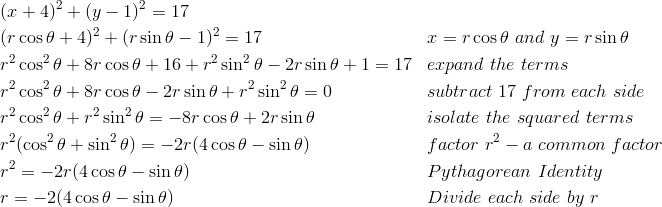 &(x+4)^2 + (y-1)^2 = 17\\&(r \cos \theta + 4)^2 + (r \sin \theta - 1)^2 = 17 && x = r \cos \theta \ and \ y = r \sin \theta\\ & r^2 \cos^2 \theta + 8r \cos \theta + 16 + r^2 \sin^2 \theta - 2r \sin \theta + 1 = 17 && expand \ the \ terms\\& r^2 \cos^2 \theta + 8r \cos \theta - 2r \sin \theta + r^2 \sin^2 \theta = 0 && subtract \ 17 \ from \ each \ side\\ & r^2 \cos^2 \theta + r^2 \sin^2 \theta = -8r \cos \theta + 2r \sin \theta && isolate \ the \ squared \ terms\\ & r^2 (\cos^2 \theta + \sin^2 \theta) = -2r (4\cos \theta - \sin \theta) && factor \ r^2 -  a \ common \ factor\\ & r^2 = -2r (4\cos \theta - \sin \theta) && Pythagorean \ Identity\\ & r = -2(4\cos \theta - \sin \theta) && Divide \ each \ side \ by \ r