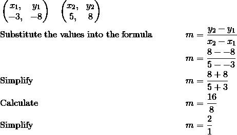 & \begin{pmatrix}  x_1, & y_1 \\  -3, & -8 \end{pmatrix} \quad \begin{pmatrix} x_2, & y_2 \\  5, & 8 \end{pmatrix}\\& \text{Substitute the values into the formula} && m=\frac{y_2-y_1}{x_2-x_1}\\& && m=\frac{8--8}{5--3}\\& \text{Simplify} && m=\frac{8+8}{5+3}\\& \text{Calculate} && m=\frac{16}{8}\\& \text{Simplify} && m=\frac{2}{1}