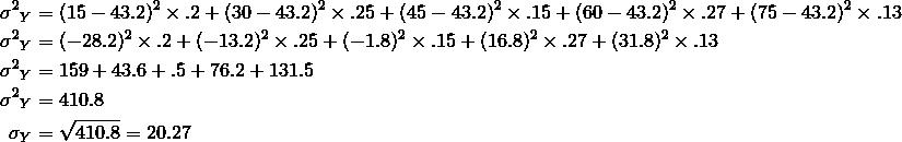 {\sigma^2}_Y &=(15-43.2)^2 \times .2+(30-43.2)^2 \times .25+(45-43.2)^2 \times .15+(60-43.2)^2 \times .27+(75-43.2)^2 \times .13\\{\sigma^2}_Y &=(-28.2)^2 \times .2+(-13.2)^2 \times .25+(-1.8)^2 \times .15+(16.8)^2 \times .27+(31.8)^2 \times .13\\{\sigma^2}_Y &=159+43.6+.5+76.2+131.5\\{\sigma^2}_Y&=410.8\\\sigma_Y&=\sqrt{410.8}=20.27