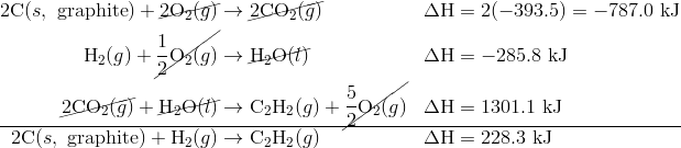 2\text{C}{(s,\ \text{graphite})}+\cancel{2\text{O}_{2}{(g)}} & \rightarrow \cancel{2\text{CO}_{2}{(g)}} & & \Delta \text{H}=2(-393.5)=-787.0 \ \text{kJ} \\\text{H}_{2}{(g)}+\cancel{\frac{1}{2}\text{O}_{2}{(g)}} & \rightarrow \cancel{\text{H}_2\text{O}{(l)}} & & \Delta \text{H}=-285.8 \ \text{kJ} \\\cancel{2\text{CO}_{2}{(g)}}+\cancel{\text{H}_2\text{O}{(l)}} & \rightarrow \text{C}_2\text{H}_{2}{(g)}+\cancel{\dfrac{5}{2}\text{O}_{2}{(g)}} & & \Delta \text{H}=1301.1 \ \text{kJ} \\\hline2\text{C}{(s,\ \text{graphite})}+\text{H}_{2}{(g)} & \rightarrow \text{C}_2\text{H}_{2}{(g)} & & \Delta \text{H}=228.3 \ \text{kJ}