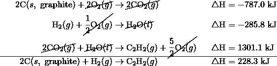 2\text{C}(s, \ \text{graphite})+\cancel{2\text{O}_2(g)} &\rightarrow \cancel{2\text{CO}_2(g)} &&\triangle \text{H}=-787.0\ \text{kJ}\\\text{H}_2(g)+\cancel{\frac{1}{2}\text{O}_2(g)} &\rightarrow \cancel{\text{H}_2\text{O}(l)} &&\triangle \text{H}=-285.8\ \text{kJ}\\\cancel{2\text{CO}_2(g)}+\cancel{\text{H}_2\text{O}(l)} &\rightarrow \text{C}_2\text{H}_2(g) +\cancel{\frac{5}{2}\text{O}_2(g)} &&\triangle \text{H}=1301.1\ \text{kJ}\\\hline2\text{C}(s, \ \text{graphite})+\text{H}_2(g) &\rightarrow \text{C}_2\text{H}_2(g)\qquad \qquad && \triangle \text{H}=228.3\ \text{kJ}