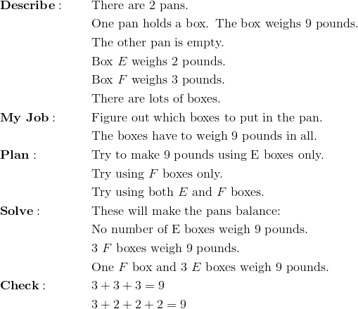 & \mathbf{Describe:} && \text{There are 2 pans.}\\&&& \text{One pan holds a box. The box weighs 9 pounds.}\\&&& \text{The other pan is empty.}\\&&& \text{Box}\ E \ \text{weighs 2 pounds.}\\&&& \text{Box}\ F \ \text{weighs 3 pounds.}\\&&& \text{There are lots of boxes.}\\& \mathbf{My \ Job:} && \text{Figure out which boxes to put in the pan.}\\&&& \text{The boxes have to weigh 9 pounds in all.}\\& \mathbf{Plan:} && \text{Try to make 9 pounds using}\ \text{E} \ \text{boxes only.}\\&&& \text{Try using}\  F \ \text{boxes only.}\\&&& \text{Try using both}\  E \ \text{and}\ F \ \text{boxes.}\\&\mathbf{Solve:} && \text{These will make the pans balance:}\\&&& \text{No number of E boxes weigh 9 pounds.}\\&&& 3 \ F \ \text{boxes weigh 9 pounds.}\\&&& \text{One}\ F \ \text{box and}\ 3 \ E \ \text{boxes weigh 9 pounds.}\\& \mathbf{Check:} && 3 + 3 +3 = 9\\&&& 3 + 2 + 2 + 2 = 9