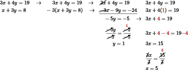 &3x+4y=19 \quad \rightarrow && \quad \ 3x+4y=19 \quad \rightarrow \quad \cancel{3x}+4y=19 && 3x+4y=19\\& \ x+3y=8 && -3(x+3y=8) \quad \rightarrow  \ \ \underline{\cancel{-3x}-9y=-24} && 3x+4({\color{red}1})=19\\& && \qquad \qquad \qquad \qquad \qquad \quad \ -5y=-5 \quad \rightarrow && 3x+{\color{red}4}=19\\& && \qquad \qquad \qquad \qquad \qquad \quad \ \ \frac{\cancel{-5}y}{\cancel{-5}}=\frac{\overset{{\color{red}1}}{\cancel{-5}}}{\cancel{-5}} && 3x+{\color{red}4-4}=19{\color{red}-4}\\& && \qquad \qquad \qquad \qquad \qquad \qquad \quad y=1 && 3x=15\\& && && \frac{\cancel{3}x}{\cancel{3}}=\frac{\overset{{\color{red}5}}{\cancel{15}}}{\cancel{3}}\\& && && x=5