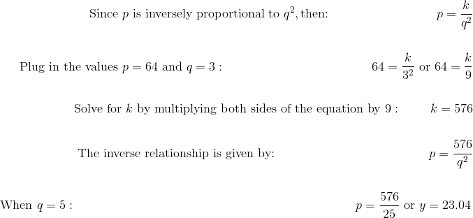 \text{Since} \ p \ \text{is inversely proportional to} \ q^2, \text{then:} \qquad \qquad \qquad \qquad \ \ p =\frac {k}{q^2}\!\\\\\text{Plug in the values} \ p = 64 \ \text{and} \ q = 3: \qquad \qquad \quad \qquad \qquad \qquad \ \ 64 =\frac {k}{3^2} \ \text{or} \ 64=\frac {k}{9}\!\\\\\text{Solve for} \ k \ \text{by multiplying both sides of the equation by} \ 9: \qquad \ k =576\!\\\\\text{The inverse relationship is given by:} \qquad \qquad \qquad \qquad \qquad \qquad \  p =\frac {576}{q^2}\!\\\\\text{When} \ q = 5: \qquad \qquad \qquad \qquad \qquad \qquad \qquad \qquad \qquad \qquad \ \qquad p =\frac {576}{25} \ \text{or} \ y=23.04