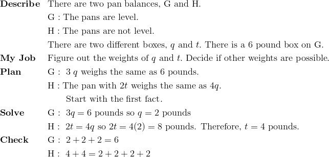 & \mathbf{Describe} && \text{There are two pan balances,} \ \text{G} \ \text{and} \ \text{H}.\!\\ &&& \text{G}: \text{The pans are level.}\!\\&&& \text{H}: \text{The pans are not level.}\!\\ &&& \text{There are two different boxes,} \ q \ \text{and} \ t. \ \text{There is a} \ 6 \ \text{pound box on} \ \text{G}.\\& \mathbf{My \ Job} && \text{Figure out the weights of} \ q \ \text{and} \ t. \ \text{Decide if other weights are possible}.\!\\& \mathbf{Plan} && \text{G}: \ 3 \ q \ \text{weighs the same as} \ 6 \ \text{pounds}.\!\\&&& \text{H}: \text{The pan with} \ 2t \ \text{weighs the same as} \ 4q.\!\\&&& \qquad \text{Start with the first fact}.\!\\& \mathbf{Solve} && \text{G}: \ 3q=6 \ \text{pounds so} \ q=2 \ \text{pounds}\!\\&&& \text{H}: \  2t=4q \ \text{so} \ 2t=4(2)=8 \ \text{pounds.  Therefore,} \ t=4 \ \text{pounds.}\\& \mathbf{Check} && \text{G}: \ 2+2+2=6\\&&& \text{H}: \ 4+4=2+2+2+2