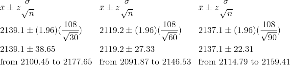 & \bar{x} \pm z\frac{\sigma}{\sqrt{n}} && \bar{x} \pm z\frac{\sigma}{\sqrt{n}} && \bar{x} \pm z\frac{\sigma}{\sqrt{n}}\\& 2139.1 \pm (1.96)(\frac{108}{\sqrt{30}}) && 2119.2 \pm (1.96)(\frac{108}{\sqrt{60}}) && 2137.1 \pm (1.96)(\frac{108}{\sqrt{90}})\\& 2139.1 \pm 38.65 && 2119.2 \pm 27.33 && 2137.1 \pm 22.31\\& \text{from} \ 2100.45 \ \text{to} \ 2177.65 && \text{from} \ 2091.87 \ \text{to} \ 2146.53 && \text{from} \ 2114.79 \ \text{to} \ 2159.41