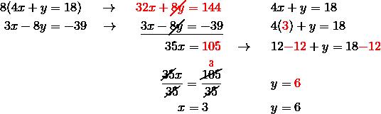& 8(4x+y=18) \quad \ \rightarrow \ \quad {\color{red}32x+\cancel{8y}=144} && 4x+y=18\\& \ 3x-8y=-39 \quad \rightarrow \ \ \quad \underline{3x-\cancel{8y}=-39} && 4({\color{red}3})+y=18\\& \qquad \qquad \qquad \qquad \qquad \qquad \quad 35x={\color{red}105} \quad \rightarrow && 12{\color{red}-12}+y=18{\color{red}-12}\\& \qquad \qquad \qquad \qquad \qquad \qquad \ \ \frac{\cancel{35}x}{\cancel{35}}=\frac{\overset{{\color{red}3}}{\cancel{105}}}{\cancel{35}} && y={\color{red}6}\\& \qquad \qquad \qquad \qquad \qquad \qquad \qquad x=3 && y=6
