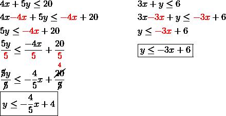 & 4x+5y \le 20 && 3x+y \le 6\\&4x{\color{red}-4x}+5y \le {\color{red}-4x}+20 && 3x{\color{red}-3x}+y \le {\color{red}-3x}+6\\&5y \le {\color{red}-4x}+20 && y \le {\color{red}-3x}+6\\& \frac{5y}{{\color{red}5}} \le \frac{-4x}{{\color{red}5}}+\frac{20}{\color{red}5} && \boxed{y \le-3x+6}\\& \frac{\cancel{5}y}{\cancel{5}} \le  -\frac{4}{5}x+\frac{\overset{{\color{red}4}}{\cancel{20}}}{\cancel{5}}\\& \boxed{y \le -\frac{4}{5}x+4}