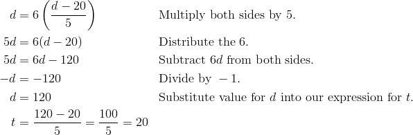d & = 6 \left (\frac {d-20}{5}  \right ) && \text{Multiply both sides by}\ 5.\\5d & = 6(d - 20) && \text{Distribute the}\ 6.\\5d & = 6d - 120 && \text{Subtract}\ 6d\ \text{from both sides.}\\-d & = -120 && \text{Divide by}\ -1.\\d & = 120 && \text{Substitute value for}\ d\ \text{into our expression for}\ t.\\t & = \frac {120 - 20}{5}=\frac {100}{5}=20