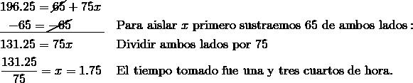 & 196.25=\cancel{65}+75x\\& \underline{\ \ -65=\cancel{-65}\qquad \;\;} && \text{Para aislar} \ x \ \text{primero sustraemos} \ 65 \ \text{de ambos lados}:\\& 131.25=75x && \text{Dividir ambos lados por} \ 75\\& \frac{131.25}{75} = x= 1.75\ && \text{El tiempo tomado fue una y tres cuartos de hora}.