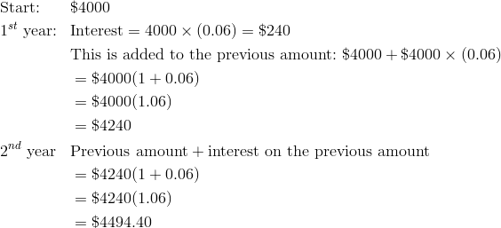 & \text{Start:} && \$4000\\& 1^{st} \ \text{year:} && \text{Interest} = 4000 \times (0.06) = \$240\\& && \text{This is added to the previous amount:} \ \$4000 + \$4000 \times (0.06)\\& && = \$4000(1 + 0.06)\\& && = \$4000 (1.06)\\& && = \$4240\\& 2^{nd} \ \text{year} && \text{Previous amount} + \text{interest on the previous amount}\\& && = \$4240(1 + 0.06)\\& && = \$4240 (1.06)\\& && = \$4494.40