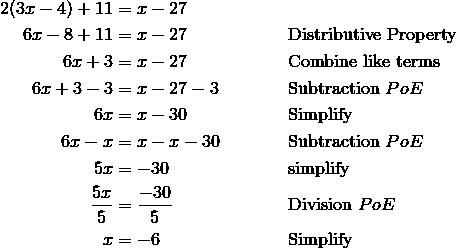 2(3x-4)+11& =x-27\\6x-8+11& =x-27 && \text{Distributive Property}\\6x+3 & = x-27 && \text{Combine like terms}\\6x+3-3& =x-27-3 && \text{Subtraction} \ PoE\\6x& =x-30 && \text{Simplify}\\6x-x& =x-x-30 && \text{Subtraction} \ PoE\\5x& =-30 && \text{simplify}\\\frac{5x}{5}& =\frac{-30}{5} && \text{Division} \ PoE\\x& =-6 && \text{Simplify}