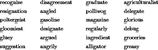 & \text{reco\underline{g}nize} && \text{disa\underline{g}reement} && \text{\underline{g}raduate} && \text{a\underline{g}riculturalist} \\& \text{resi\underline{g}nation} && \text{an\underline{g}led} &&  \text{polliwo\underline{g}} && \text{dele\underline{g}ate} \\& \text{polter\underline{g}eist} && \text{\underline{g}asoline} && \text{ma\underline{g}azine} && \text{\underline{g}lorious}\\& \text{\underline{g}loomiest} && \text{desi\underline{g}nate} && \text{re\underline{g}ularly} && \text{debu\underline{g}}\\& \text{\underline{g}luey} && \text{ar\underline{g}ued} && \text{in\underline{g}redient} && \text{\underline{g}roceries}\\& \text{su\underline{gg}estion} && \text{an\underline{g}rily} && \text{alli\underline{g}ator} && \text{\underline{g}reasy}