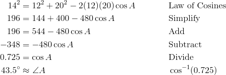 14^2 & = 12^2 + 20^2 - 2(12)(20) \cos A && \text{Law of Cosines} \\ 196 & = 144 + 400 - 480 \cos A && \text{Simplify} \\ 196 & = 544 - 480 \cos A  && \text{Add} \\ -348 & = -480 \cos A && \text{Subtract} \\ 0.725 & = \cos A  && \text{Divide} \\ 43.5^\circ & \approx \angle{A} && \cos^{-1} (0.725)