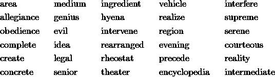 & \text{area} && \text{medium} && \text{ingredient} && \text{vehicle} && \text{interfere} \\& \text{allegiance} && \text{genius} && \text{hyena} && \text{realize} && \text{supreme} \\& \text{obedience} && \text{evil} && \text{intervene} && \text{region} && \text{serene} \\& \text{complete} && \text{idea} && \text{rearranged} && \text{evening} && \text{courteous} \\& \text{create} && \text{legal} && \text{rheostat} && \text{precede} && \text{reality} \\& \text{concrete} && \text{senior} && \text{theater} && \text{encyclopedia} && \text{intermediate}