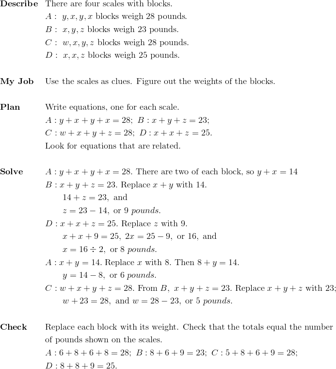 & \mathbf{Describe}&& \text{There are four scales with blocks}.\\&&& A: \ y, x, y, x \ \text{blocks weigh} \ 28 \ \text{pounds}.\\&&& B: \ x, y, z \ \text{blocks weigh} \ 23 \ \text{pounds}.\\&&& C: \ w, x, y, z \ \text{blocks weigh} \ 28 \ \text{pounds}.\\&&& D: \ x, x, z \ \text{blocks weigh} \ 25 \ \text{pounds}.\\\\&\mathbf{My \ Job}&& \text{Use the scales as clues. Figure out the weights of the blocks}.\\\\&\mathbf{Plan} && \text{Write equations, one for each scale}.\\&&& A: y+ x+ y+ x= 28; \ B: x+ y+ z= 23;\\&&& C: w+ x+ y + z = 28; \ D: x+x+z=25.\\&&& \text{Look for equations that are related}.\\\\&\mathbf{Solve}&& A: y+x+y+x=28. \ \text{There are two of each block, so} \ y+x=14\\&&& B: x+ y+ z = 23. \ \text{Replace} \ x+ y \ \text{with}\ 14.\\&&& \qquad 14 +z=23, \ \text{and}\\&&& \qquad z =23 - 14, \  \text{or} \ 9 \ pounds.\\&&& D: x+ x+ z = 25. \ \text{Replace} \ z \ \text{with} \ 9.\\&&& \qquad x+x+9=25, \ 2x=25-9, \ \text{or} \ 16, \ \text{and}\\&&& \qquad x =16 \div 2, \ \text{or}\ 8 \ pounds.\\&&& A: x+ y= 14. \ \text{Replace} \ x \ \text{with}\ 8. \ \text{Then} \ 8+y=14.\\&&& \qquad y=14-8, \ \text{or} \ 6 \ pounds.\\&&& C: w+x+ y+ z = 28. \ \text{From} \ B, \ x+y+z=23. \ \text{Replace} \ x+ y+z \ \text{with} \ 23;\\&&& \qquad w +23=28, \ \text{and} \ w=28-23, \ \text{or} \ 5 \ pounds.\\\\&\mathbf{Check} && \text{Replace each block with its weight. Check that the totals equal the number}\\&&&\text{of pounds shown on the scales.}\\&&& A: 6 + 8 + 6 + 8 =28; \ B: 8 + 6 + 9 =23; \ C: 5 + 8 + 6+9 =28;\\&&& D: 8+8+9=25.