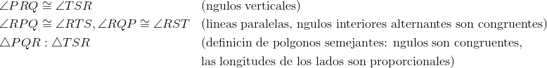 & \angle{PRQ} \cong \angle{TSR} && \text{(ángulos verticales) }\\& \angle{RPQ} \cong \angle{RTS}, \angle{RQP} \cong \angle{RST} && \text{(lineas paralelas, ángulos interiores alternantes son congruentes)}\\& \triangle{PQR}: \triangle{TSR} && \text{(definición de polígonos semejantes: ángulos son congruentes},\\&&& \text{las longitudes de los lados son proporcionales)}