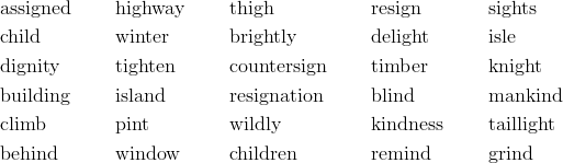 & \text{assigned} && \text{highway} && \text{thigh} && \text{resign} && \text{sights} \\& \text{child} && \text{winter} && \text{brightly} && \text{delight} && \text{isle} \\& \text{dignity} && \text{tighten} && \text{countersign} && \text{timber} && \text{knight} \\& \text{building} && \text{island} && \text{resignation} && \text{blind} && \text{mankind} \\& \text{climb} && \text{pint} && \text{wildly} && \text{kindness} && \text{taillight} \\& \text{behind} && \text{window} && \text{children} && \text{remind} && \text{grind}