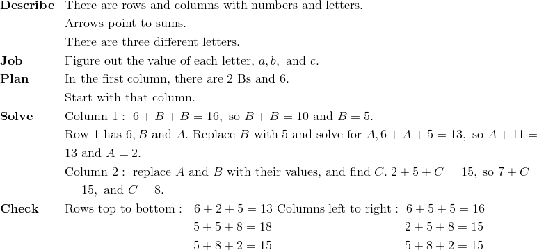 & \mathbf{Describe} && \text{There are rows and columns with numbers and letters.}\!\\ &&& \text{Arrows point to sums}.\!\\ &&& \text{There are three different letters}.\!\\& \mathbf{Job} && \text{Figure out the value of each letter,} \ a, b, \ \text{and} \ c.\!\\& \mathbf{Plan} && \text{In the first column, there are} \ 2 \ \text{Bs and} \ 6.\!\\&&& \text{Start with that column.}\!\\& \mathbf{Solve} && \text{Column} \ 1: \ 6 + B + B = 16, \ \text{so} \ B + B = 10 \ \text{and} \ B = 5.\!\\&&& \text{Row} \ 1 \ \text{has} \ 6, B \ \text{and} \ A. \ \text{Replace} \ B \ \text{with} \ 5 \ \text{and solve for} \ A, 6 + A + 5 = 13, \ \text{so} \ A + 11 =\!\\&&& 13 \ \text{and} \ A = 2.\!\\&&& \text{Column} \ 2: \ \text{replace} \ A \ \text{and} \ B \ \text{with their values, and find} \ C. \ 2 + 5 + C = 15, \ \text{so} \ 7 + C\!\\&&& =15, \ \text{and} \ C = 8.\!\\& \mathbf{Check} && \text{Rows top to bottom}: \ \ 6 + 2 + 5 = 13 \ \text{Columns left to right}: \ 6 + 5 + 5 = 16\!\\&&& \qquad \qquad \qquad \qquad \qquad \ 5 + 5 + 8 = 18 \qquad \qquad \qquad \qquad \qquad \ \ 2 + 5 + 8 = 15\!\\&&& \qquad \qquad \qquad \qquad \qquad \ 5 + 8 + 2 = 15 \qquad \qquad \qquad \qquad \qquad \ \ 5 + 8 + 2 = 15