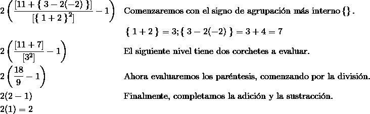 & 2 \left(\frac{[11 + \left \{ \right . 3 - 2(-2)\left . \right \}]} {[\left \{ \right .1 + 2\left . \right \}^2]} - 1 \right) && \text{Comenzaremos con el signo de agrupaci}\acute{\text{o}}\text{n m}\acute{\text{a}}\text{s interno} \left \{ \right \}.\\& & &\left \{ \right . 1 + 2\left . \right \} = 3; \left \{ \right . 3 - 2(-2)\left . \right \} = 3 + 4 = 7 \\& 2 \left (\frac{[11 + 7]} {[3^2]} - 1 \right) & & \text{El siguiente nivel tiene dos corchetes a evaluar}.\\& 2 \left(\frac{18} {9} - 1 \right) & & \text{Ahora evaluaremos los par}\acute{\text{e}}\text{ntesis, comenzando por la divisi}\acute{\text{o}}\text{n}.\\& 2(2 - 1) & & \text{Finalmente, completamos la adici}\acute{\text{o}}\text{n y la sustracci}\acute{\text{o}}\text{n}.\\& 2 (1) = 2